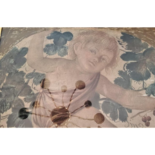 Green Early 20th Century Medici Print of Putti Under a Vine For Sale - Image 8 of 11