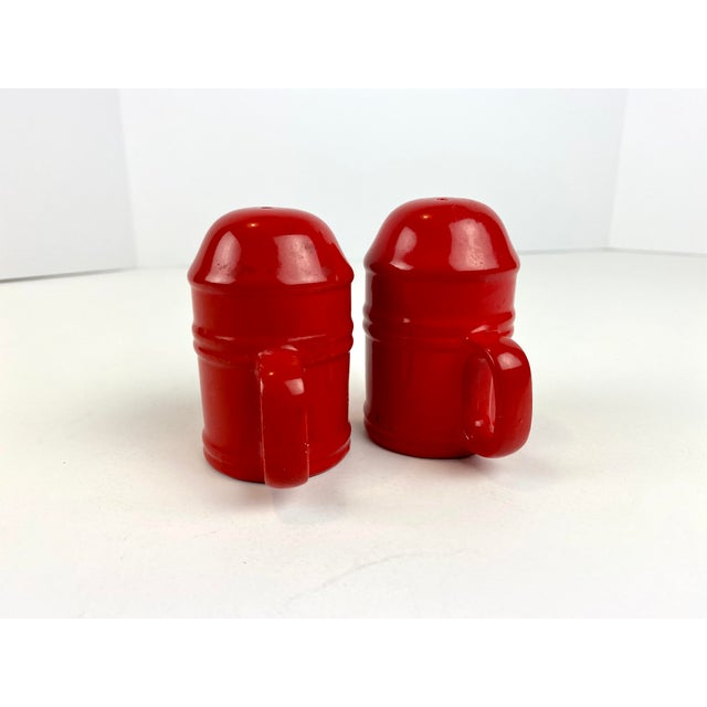 Mid-Century Modern Vintage Japanese Glazed Red Ceramic Salt and Pepper Shakers - a Pair For Sale - Image 4 of 10