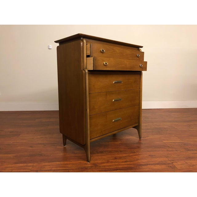 Metal John Van Koert Drexel Projection 1959 Highboy Dresser For Sale - Image 7 of 12