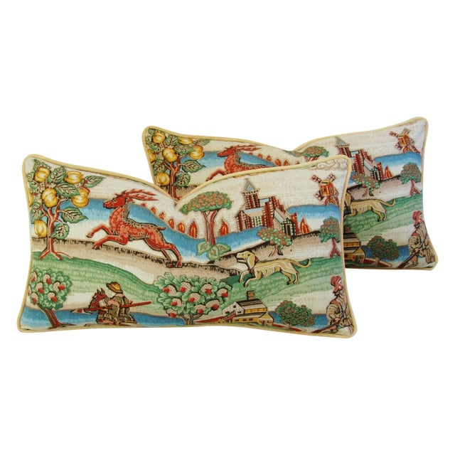 Designer Brunschwig & Fils Medieval Pillows - Pair - Image 1 of 8