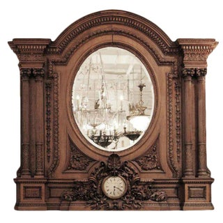 Antique Heavily Carved Over Mantel Mirror