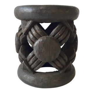 African Knot Hand Carved Side Table For Sale