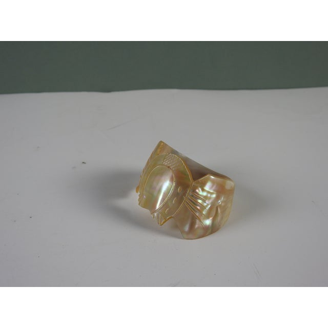 Art Nouveau Carved Shell Mother of Pearl Napkin Ring For Sale - Image 3 of 4