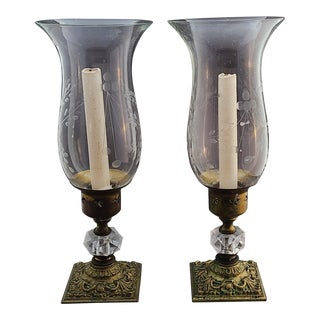 Brass Plated 1970s Candlesticks With Etched Hurricane Shades - A Pair For Sale