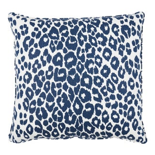 Schumacher Iconic Leopard Pillow in Ink For Sale
