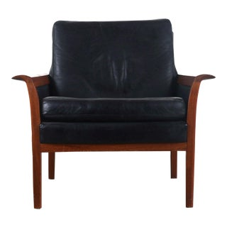 Knud Saeter for Vatne Leather Accent Chair in Aged Leather and Teak, Norway For Sale