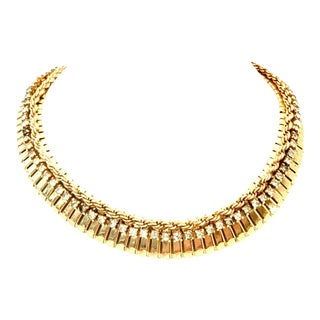 1950's Jewels by Julio Gold & Swarovski Crystal Choker Link Necklace For Sale