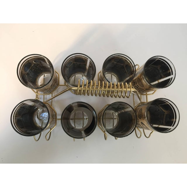 Mid-Century Modern Vintage Eight Highball Black and Gold Glasses in a Brass Cart by Fred Press For Sale - Image 3 of 10
