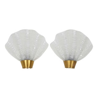 Pair of French Art Deco Sconces with Elegant Shell Design For Sale