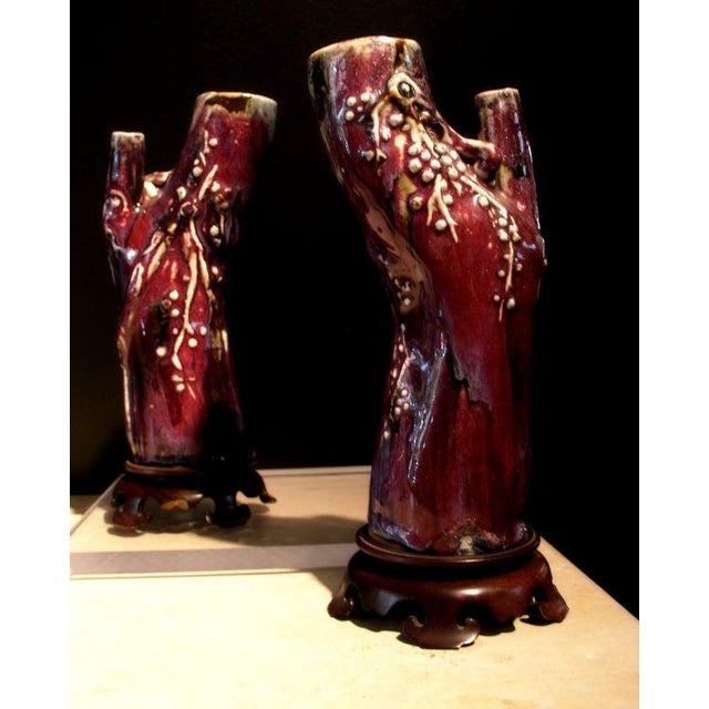 Asian Pair of Chinese Flambe Glazed Trunk Form Vases For Sale - Image 3 of 5