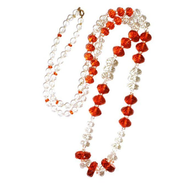 1930s Deco-Era Orange Faceted Glass Long Necklace For Sale In Los Angeles - Image 6 of 6