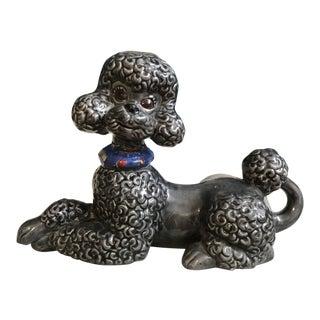 Mid-Century Gray Porcelain Poodle Figurine For Sale