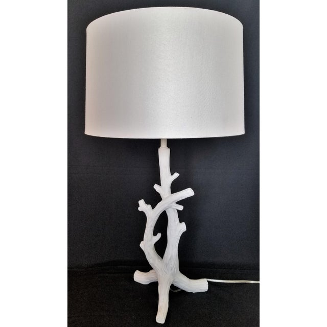 Boho Chic White Faux Bois Bedside Lamps Inspired by Serge Roche - a Pair Mid-Century Modern Palm Beach Boho Chic Tropical Coastal For Sale - Image 3 of 13