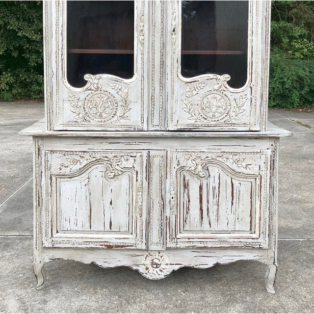 18th Century Country French Painted Bookcase ~ Buffet a Deux Corps For Sale - Image 9 of 13