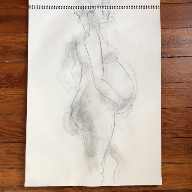 Loose, figural drawing of pregnant nude by artist Alice Houston Miles, 2013. Charcoal on heavyweight paper. Some light...