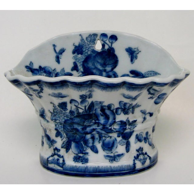 Blue & White Porcelain Wall Pocket Planter - Image 2 of 7