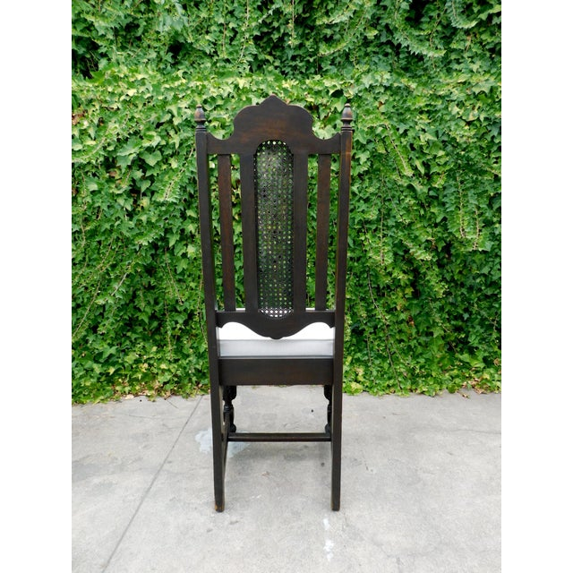 Traditional Vintage Spanish Style Cane Back Chair For Sale - Image 3 of 8