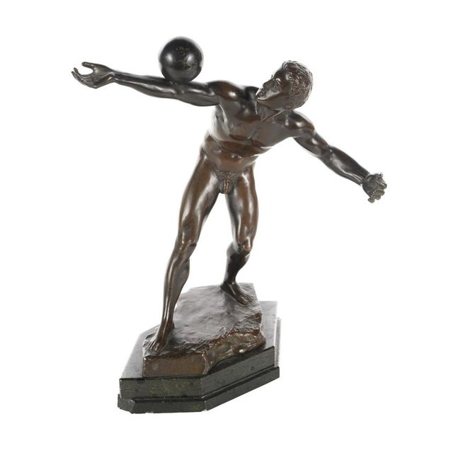 Antique Bronze Olympian Athlete Balancing a Ball For Sale