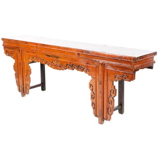 """19th Century Chinese 91"""" Long Burnt Orange Color Lacquer Altar Console Table For Sale"""