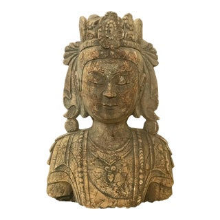 Early 20th Century Stone Crowned Kuan Yin Bust For Sale