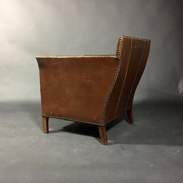 Mid-Century Modern 1940s Swedish Square-Back Leather Club Chair For Sale - Image 3 of 11
