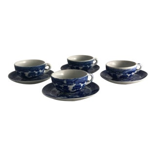 "Mid-Century ""Blue Willow"" Cups & Saucers - Set for 4 For Sale"