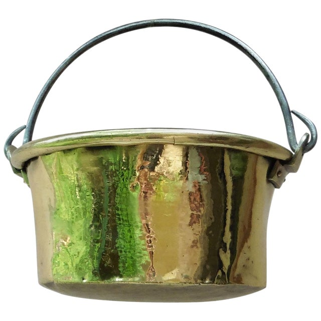 Early 19th Century French Yellow Copper Cauldron For Sale