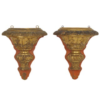 Baroque Style Wall Brackets - A Pair For Sale