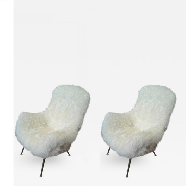 Fritz Neth Pair of Comfy Lounge Chairs Newly Covered in Sheep Skin Fur For Sale - Image 9 of 9