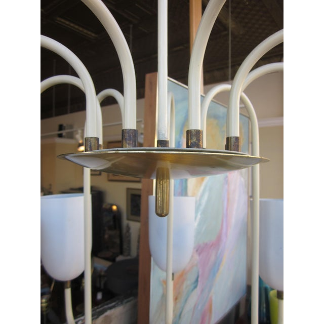 1950s Mid-Century Modern Matte White 9-Arm Curvilinear Chandelier For Sale - Image 9 of 12