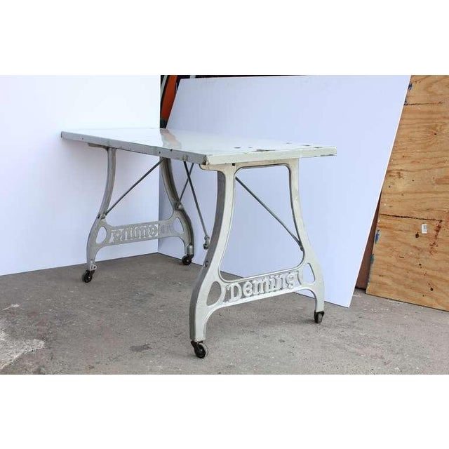Industrial 1920s Antique Industrial Folding Table For Sale - Image 3 of 3