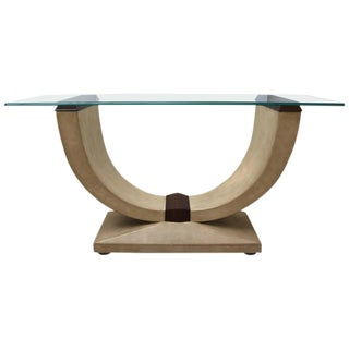 Art Deco Style Console Table in Shagreen, Zebra Wood and Glass Top For Sale