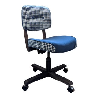 Vintage Houndstooth Upholstered Wooden Office Chair