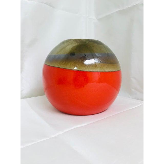 Orange Contemporary Orange Hand Made Round Table Vase For Sale - Image 8 of 8