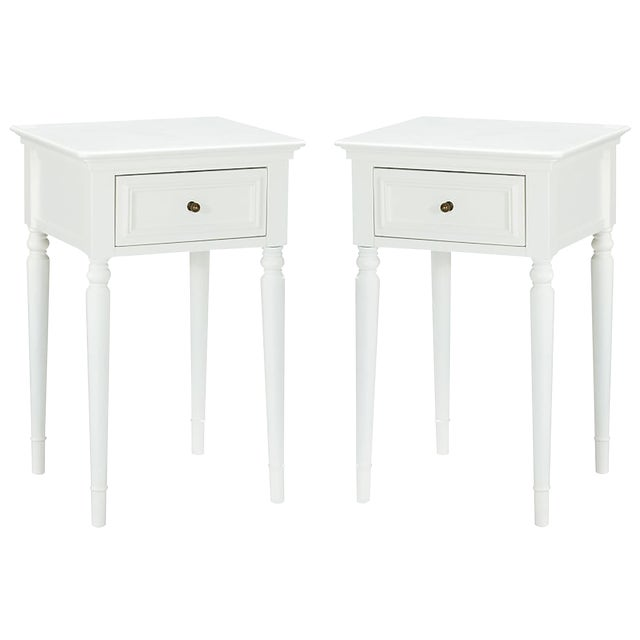 Pottery Barn White Wooden Nightstands - a Pair - Image 1 of 3