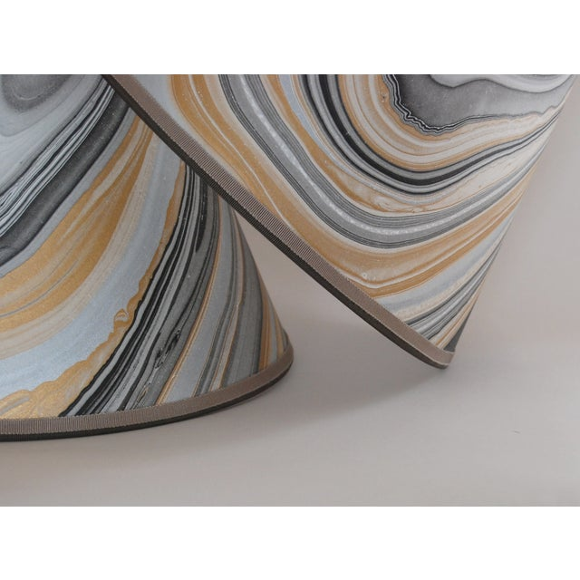 Gold, Grey & Black Marble Lampshades - Pair - Image 4 of 5