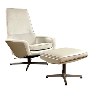 Mid Century Modern Kofod Larsen High Back Lounge Chair and Ottoman For Sale