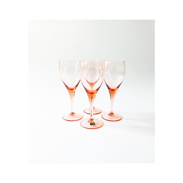8795fcae71 A gorgeous set of 4 vintage crystal wine glasses in a blush pink hue. Made