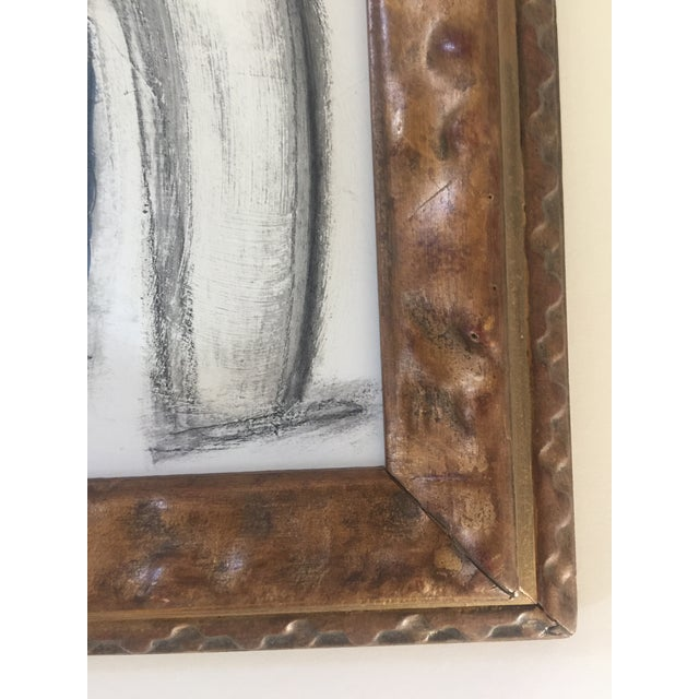 Abstract Charcoal Abstract Drawing Vintage Frame For Sale - Image 3 of 4