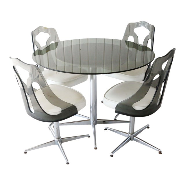 1970's Space Age Modern Smoked Lucite and Chrome Dining Set - 5 Pieces For Sale