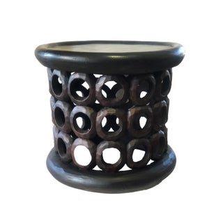 "African Bamileke Wood Stool/Table 16.25"" H by 19 "" D Cameroon Preview"