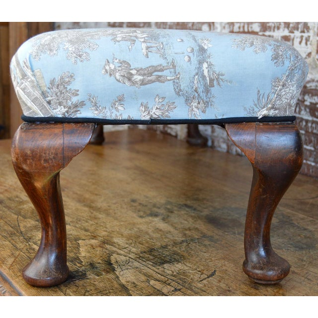 Queen Anne Late 19th Century Queen Anne Style Upholstered Long Footstool For Sale - Image 3 of 13