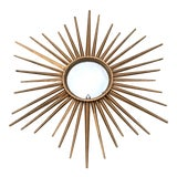 Image of Chaty Vallauris Style Sunburst Convex Metal Mirror For Sale