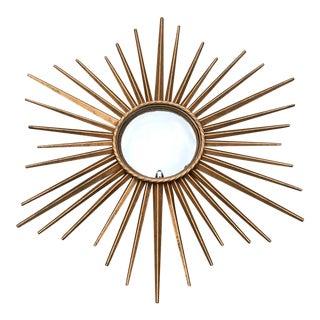 Chaty Vallauris Style Sunburst Convex Metal Mirror For Sale