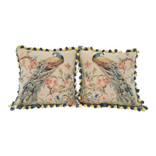 Needlepoint Peacock Pillow Covers - Pair For Sale
