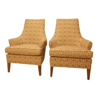 Upholstered Mitchell Gold Accent Chairs - a Pair For Sale