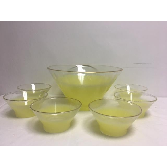 Mid-Century Modern Retro Lemon Yellow Salad or Fruit Bowl With Bowls - S/7 For Sale - Image 3 of 4