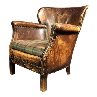 1930s Danish Oskar Hansen Leather Club Chair For Sale