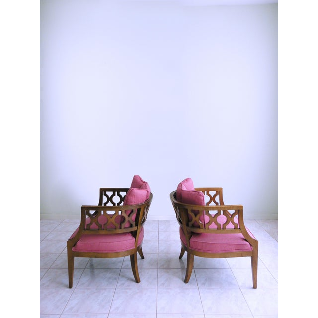 Mid Century Pink Lattice Back Barrel Chairs After William Billy Haines - a Pair For Sale In Chicago - Image 6 of 9