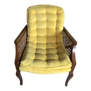 Vintage Mid Century Bright Yellow Cane Chair For Sale